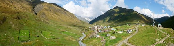 Panorama of highest European settlement Ushguli,Georgia Stock Photos