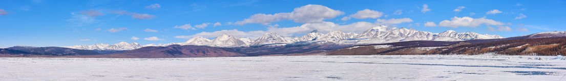 Panorama of highest mountain in Sayan Mountains from Hovsgol Lake Stock Image