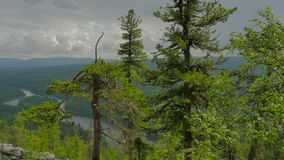 Panorama from hill to ural and river valley. Panorama from hill to ural mountains and river valley stock video footage