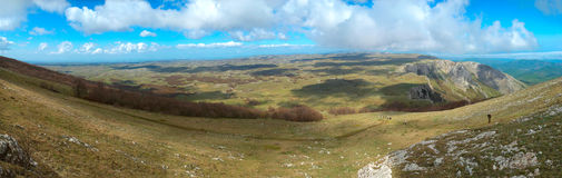 Panorama. Hills with cloudscape Stock Images