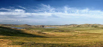 Panorama of hills and lakes Royalty Free Stock Images
