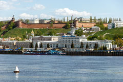Panorama of the hills part of Nizhny Novgorod in the summer weekend. Nizhny Novgorod River Port. View from the Volga River in the weekend Royalty Free Stock Images