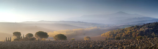 Panorama of the hills in Tuscany royalty free stock photo