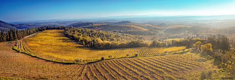 Panorama of the hills of Tuscany at sunset Royalty Free Stock Images