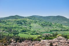 Panorama on the hills of Umbria and Spoleto stock images