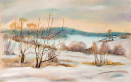Winter landscape. Panorama of hills in the winter Stock Photography