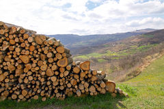 Panorama of the hills with woodpile Stock Photos