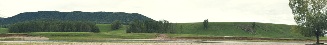 Panorama. Of the hillse in countryside Stock Photo