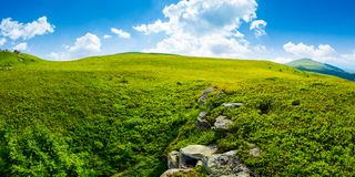 Panorama of the hillside meadow. Lovely summer landscape with boulders among the grass. location Runa mountain, Ukraine stock image