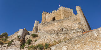 Panorama of the hilltop castle in Alcala del Jucar. Spain Stock Photo