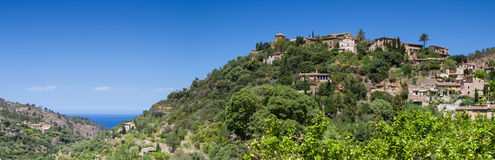 Panorama of the hilltop village of Deia Stock Image
