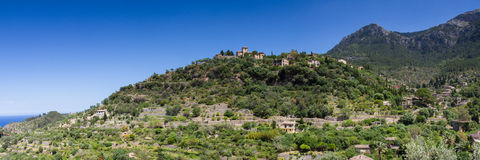 Panorama of hilltop village Deia Stock Photo