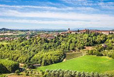 Hilly region of the Langhe, Piedmont, Italy royalty free stock photography