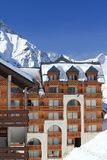 Panorama of the Hils and Hotels, Les Deux Alpes, France, French Royalty Free Stock Images