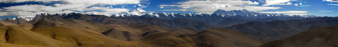 panorama- himalaya berg Arkivfoton