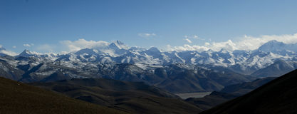 Panorama of the himalaya mountain range Stock Photo