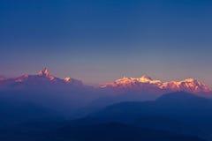 Panorama of Himalaya mountains. Beautiful sunset over Himalaya mountains stock images