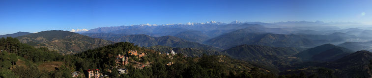 Panorama of  the Himalaya mountains Range Stock Photo