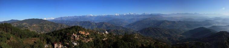 Panorama of the Himalaya mountains Range stock photo