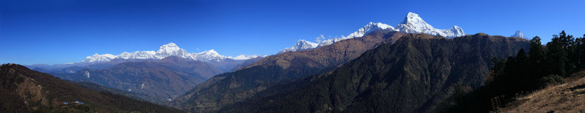 Panorama of the Himalaya mountains Range. At sunrise ,Nepal royalty free stock photo