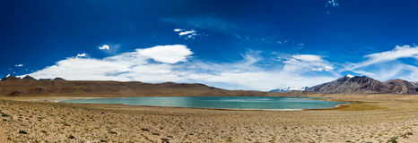 Panorama of Himalayan lake Kyagar Tso, India Royalty Free Stock Photography