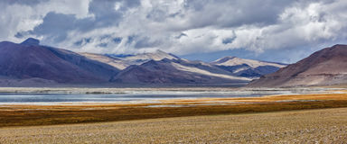 Panorama of Himalayan lake Tso Kar in Himalayas, Ladakh, India. Panorama of Tso Kar - fluctuating salt lake in Himalayas. Rapshu,  Ladakh, Jammu and Kashmir Royalty Free Stock Photography
