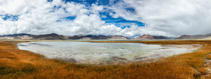 Panorama of Himalayan lake Tso Kar in Himalayas, Ladakh, India Royalty Free Stock Images