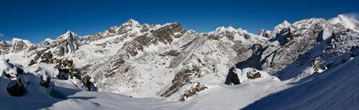 Panorama himalayano da Gokyo Ri Fotografie Stock