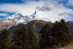 Panorama of the Himalayas in Nepal spring. Panorama of the Himalayas on the tracking to the  Annapurna base camp Royalty Free Stock Photo