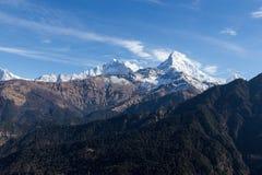 Panorama of the Himalayas in Nepal spring Royalty Free Stock Photos