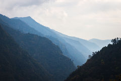 Panorama of the Himalayas in Nepal spring Stock Photo