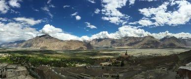 Panorama of Himalayas. Panorama view in sunny day, Himalayas, India Stock Photo