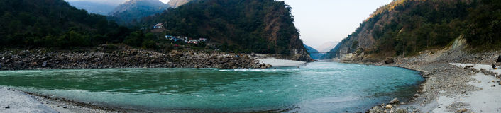 Panorama of himalyas. Panorama of Atali near rishikesh india. This is in the foothills of the Himalyas on the banks of the river ganga Stock Photo