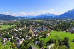 Panorama of the historic city of Salzburg Royalty Free Stock Image