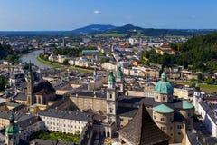 Panorama of the historic city of Salzburg Stock Photos