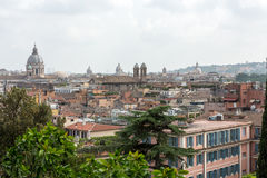 Panorama of historic districts of Rome seen from the Pincio terrace Royalty Free Stock Photography
