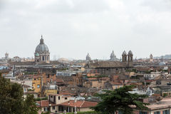 Panorama of historic districts of Rome seen from the Pincio terrace Royalty Free Stock Photos