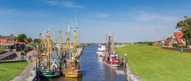 Panorama of the historic harbor of Greetsiel Stock Image