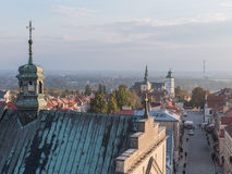 Panorama of the historic old town Sandomierz Stock Photography