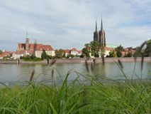 Panorama of the historic part of the old town `Ostrow Tumski`, Wroclaw Royalty Free Stock Images