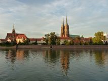 Panorama of the historic part of the old town `Ostrow Tumski`, Wroclaw Stock Photos