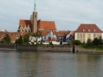 Panorama of the historic part of the old town `Ostrow Tumski`, Wroclaw Royalty Free Stock Photography