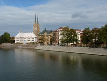 Panorama of the historic part of the old town `Ostrow Tumski`, Wroclaw Stock Images