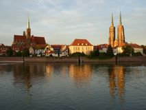 Panorama of the historic part of the old town `Ostrow Tumski`, Wroclaw Royalty Free Stock Photo