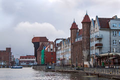 Panorama of historic part of town and the Motlawa River with its famous medieval Crane and Gate Straganiarska. Stock Image