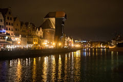 Panorama of historic part of town and the Motlawa River with its famous medieval Crane. Stock Images