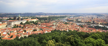 Panorama of historical center of Prague. View from Petrin Lookout Tower Royalty Free Stock Images