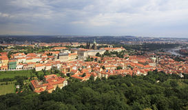 Panorama of historical center of Prague. View from Petrin Lookout Tower Stock Photos