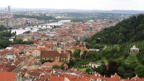 Panorama of historical center of Prague stock video