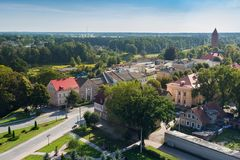 Panorama of the historical center of Pravdinsk german name of town is Friedland, Kaliningrad Oblast, Russia. The city was founded in 1312 by the Teutonic Stock Photo